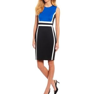 Calvin Klein Blue Black Body Con Dress Size 8